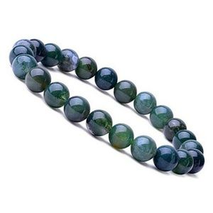 Jewelry - 8mm Aquatic Agate stretchy natural bead bracelet